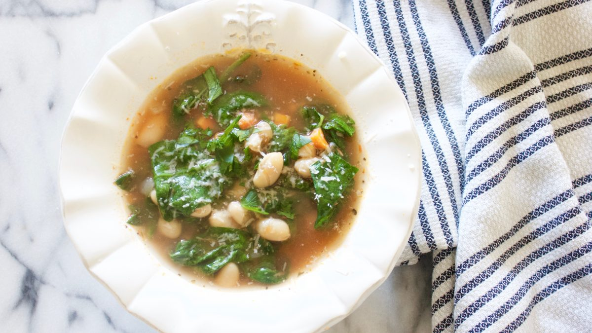 Italian Wedding Soup with White Beans and Spinach