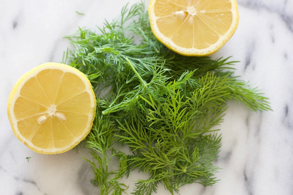 Lemon halves and fresh dill on a marble counter