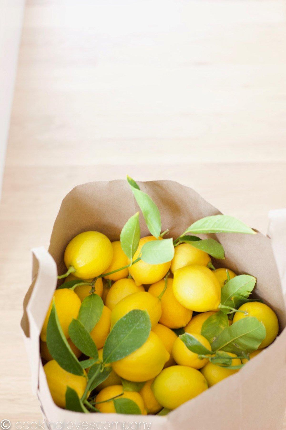 A brown paper bag on a light hardwood floor full of freshly picked lemons.