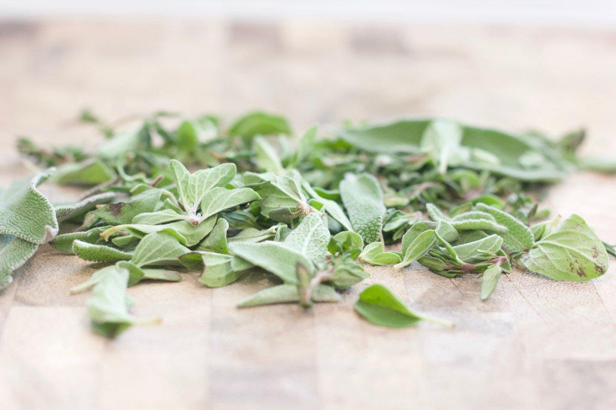 Fresh sage leaves on a cutting board