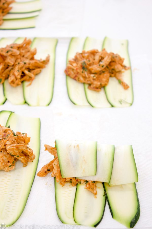 Zucchini slices with shredded chicken filling